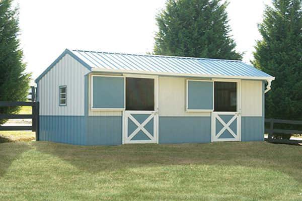 12X24 Shed Row Horse Barn, Two Tone Metal Siding and Roof
