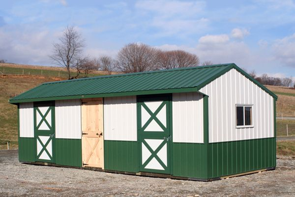 10x30 Shed Row Horse Barn with Dutch Doors