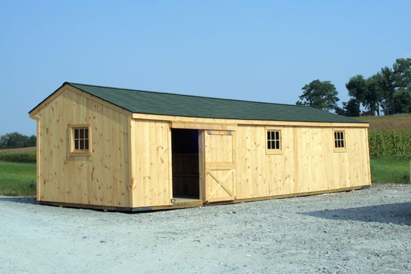 12' x 26' Shed Row Horse Barn with 12' Storage Area, Back View