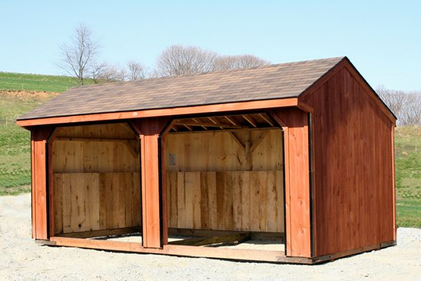 10x20 Horse Barn Run-in Shed, Cedar Stain, Shingles & Two 8x7 Openings