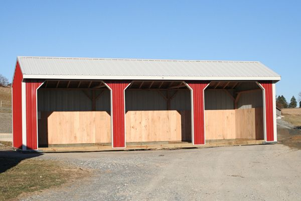 10x30 Horse Barn Metal Run-in Shed with Three 8x7 Openings