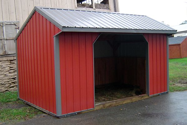 10x16 Horse Barn, Metal Run-in Shed with One Opening