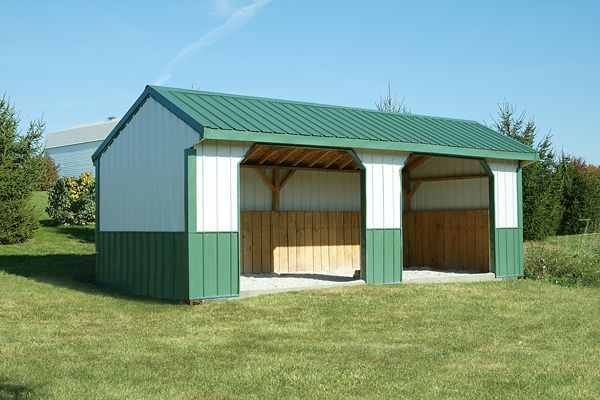 10x24 Horse Barn, Metal Run-in Shed with Two Openings