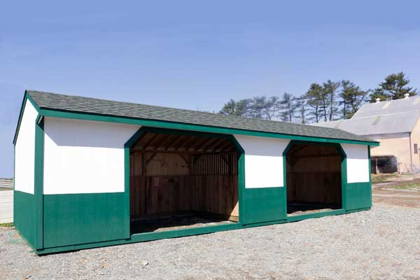 12x30 Horse Barn, Wood Run-in Shed.  Painted Brite White & Green.