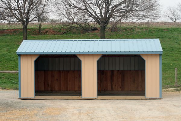 12X24 Horse Barn, Metal Run-in Shed, Tan with Blue Trim