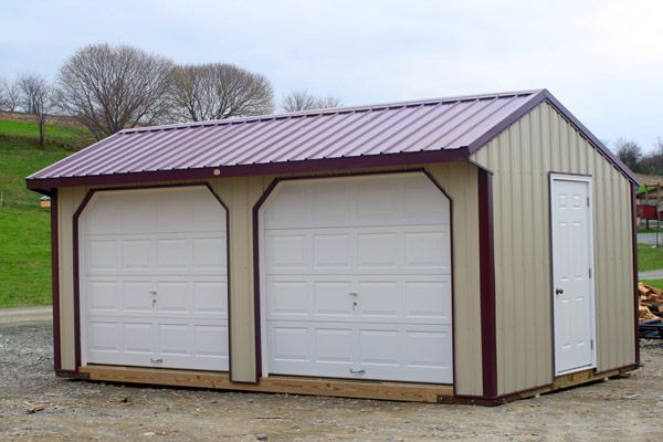 12x20 Metal Garage with Two Openings and One Entry Door