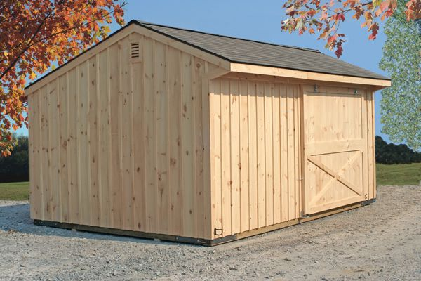 12X18 Wood Unstained Storage Barn