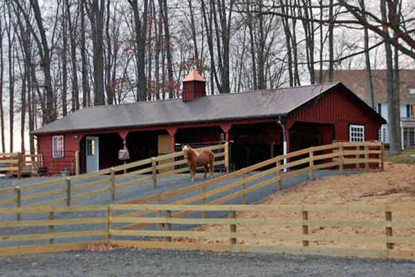 24x60 L-Shaped Modular Horse Barn with Partially Enclosed Overhang - Front View