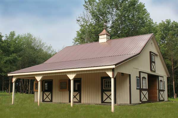 36x36 Modular Horse Barn with 10' Overhang-Front View