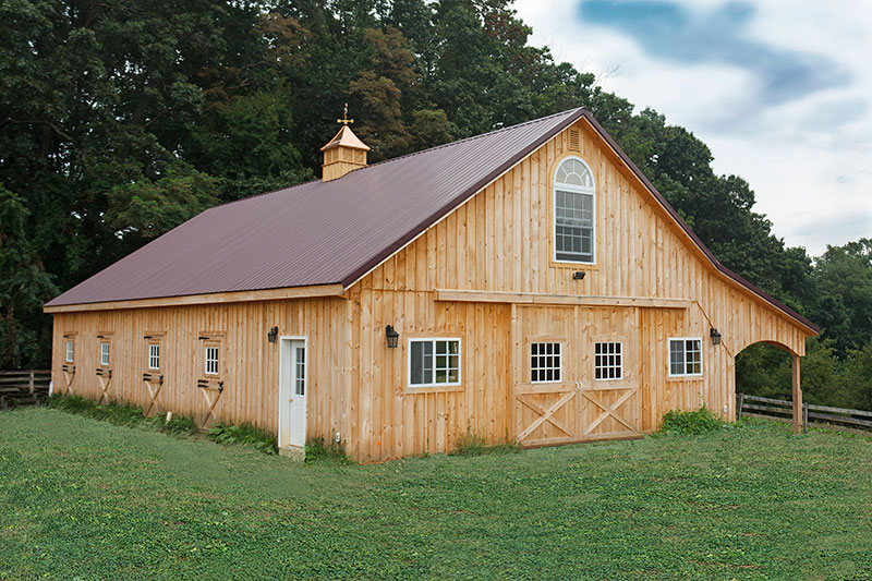10x60 Horse Pole Barn, 10' Overhang, Arched Trim