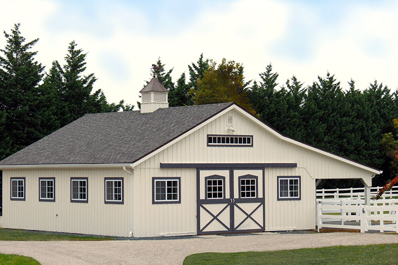 32x36 Modular Horse Barn with 12' Overhang, 4 Stalls, Tack & Wash