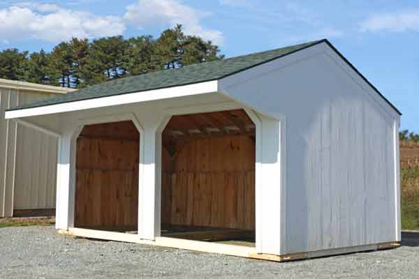 10x20 Horse Barn,  Pine Painted Run-in Shed, Green Shingles, 4' Overhang
