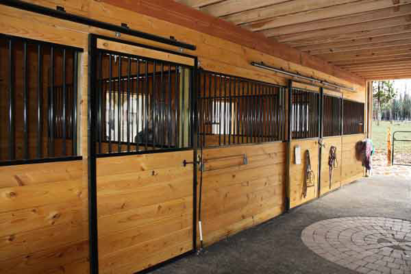 Stall Fronts in 36x36 Modular Horse Barn.   Finished with 2 x 8 T&G Southern Yellow Pine