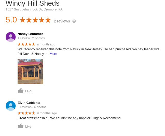A link to google reviews for Windy Hill Sheds and Barns, Lancaster PA